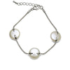 White Freshwater Coin Pearl Bracelet, 14.0-15.0mm, Sterling Silver