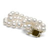 White Freshwater Double-Strand Pearl Bracelet, 7.5-8.0mm, 14K Yellow Gold
