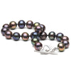 Black Freshwater PureHearts Pearl Toggle Bracelet, 7.5-8.0mm, .925 Sterling Silver