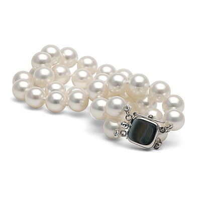White Freshwater Double-Strand Pearl Bracelet, 7.5-8.0mm, 14K White Gold