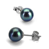 Black Freshwater Pearl Earrings, 6.5-7.0mm, 14K White Gold