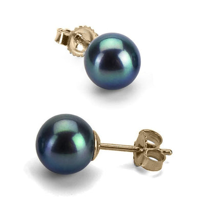Black Freshwater Pearl Earrings, 6.5-7.0mm, 14K Yellow Gold