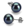 Black Freshwater Pearl Earrings, 8.5-9.0mm, 14K White Gold
