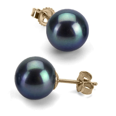 Black Freshwater Pearl Earrings, 8.5-9.0mm, 14K Yellow Gold
