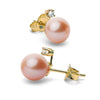 Pink Freshwater Pearl and Diamond Radiance Earrings, 9.0-10.0mm, 14K Yellow Gold Version