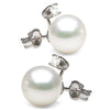 White Elite Collection Freshwater Pearl and Diamond Glimmer Earrings