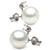 White Elite Collection Freshwater Pearl and Diamond Glimmer Earrings, Sizes 10.5-11.0mm