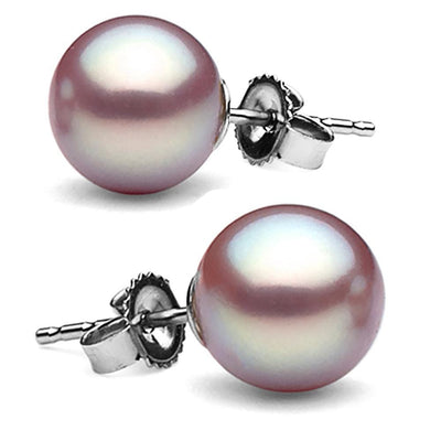 Elite Collection Lavender Freshwater Pearl Stud Earrings, 10.0-10.5mm, 14K White Gold
