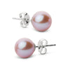 Elite Collection Lavender Freshwater Pearl Stud Earrings, 7.5-8.0mm, 14K White Gold