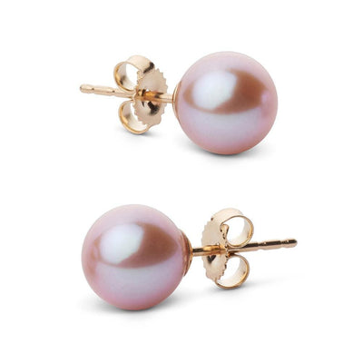 Elite Collection Lavender Freshwater Pearl Stud Earrings, 7.5-8.0mm, 14K Yellow Gold