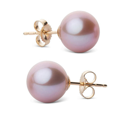 Elite Collection Lavender Freshwater Pearl Stud Earrings, 9.5-10.0mm, 14K Yellow Gold