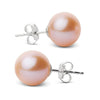 Elite Collection Pink to Peach Freshwater Pearl Stud Earrings, 9.5-10.0mm, 14K White Gold Version