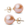 Elite Collection Pink to Peach Freshwater Pearl Stud Earrings, 9.5-10.0mm, 14K Yellow Gold Version