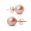 Elite Collection Pink to Peach Freshwater Pearl Stud Earrings, 8.5-9.0mm, 14K Yellow Gold