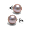 Lavender Freshwater Pearl Earrings, 8.5-9.0mm, 14K White Gold Version