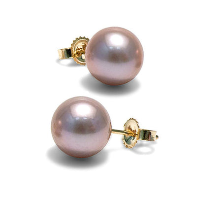 Lavender Freshwater Pearl Earrings, 8.5-9.0mm, 14K Yellow Gold Version