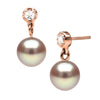 Lavender Pearl and Diamond Dangle Earrings, 6.0-7.0mm, Sterling Silver or 14K Gold