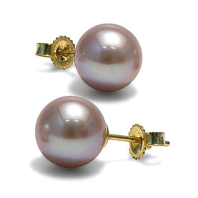 Lavender Freshwater Pearl Earrings, 9.5-10.0mm, 14K Yellow Gold Version