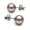 Lavender Freshwater Pearl Earrings, 6.5-7.0mm, 14K White Gold Version