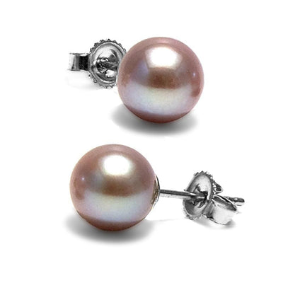 Lavender Freshwater Pearl Earrings, 7.5-8.0mm, 14K White Gold Version
