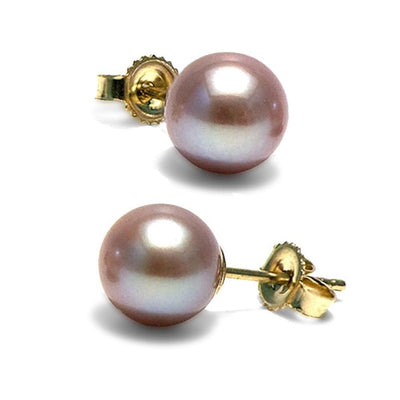 Lavender Freshwater Pearl Earrings, 7.5-8.0mm, 14K Yellow Gold Version