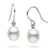 White Freshwater Drop Dangle Pearl Earrings, Sizes: 7.0-9.0mm, Sterling Silver or 14K White Gold