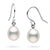 White Metallic Freshwater Drop Dangle Pearl Earrings, Sizes: 7.0-9.0mm, Sterling Silver or 14K Gold