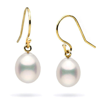 White Freshwater Drop Dangle Pearl Earrings, Sizes: 7.0-9.0mm, 14K Yellow Gold