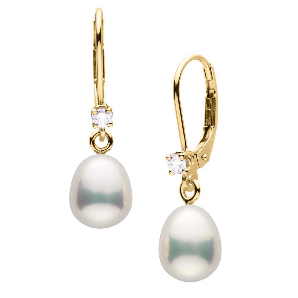 Details about  /14K White Gold Freshwater Cultured Pearl 8-9mm Dangle Leverback Earrings