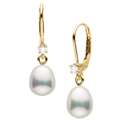 Metallic White Freshwater Pearl and Diamond Leverback Dangle Earrings