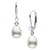 Metallic White Drop-Shaped Freshwater Pearl and Diamond Leverback Dangle Earrings