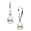 Metallic Collection White Freshwater Pearl Drop-Shape Diamond Leverbacks