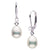 Metallic Collection White Freshwater Pearl Drop-Shape Diamond Leverback Dangle Earrings, Sizes: 9.0-11.0mm
