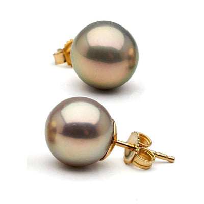 Metallic Lavender Freshwater Pearl Stud Earrings, Sizes 8.0-10.0mm, 14K Yellow Gold