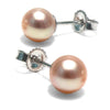 Pink Freshwater Pearl Earrings, 6.5-7.0mm, 14K White Gold