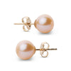 Elite Collection Pink to Peach Freshwater Pearl Stud Earrings, 7.5-8.0mm, 14K Yellow Gold