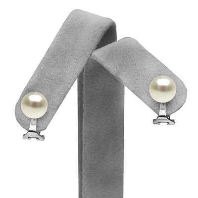 White Elite Collection Freshwater Pearl Clip-On Earrings on Earring Tree