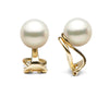 White Elite Collection Freshwater Pearl Clip-On Earrings, Sizes: 7.0-11.0mm, 14K Yellow Gold