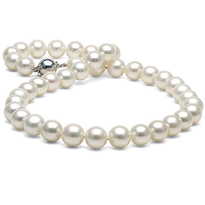 White Freshwater Pearl Necklace, 10.5-11.5mm, 14K White Gold