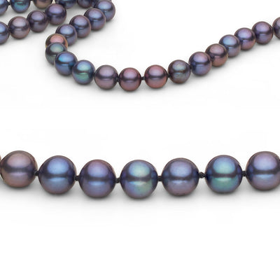 Black Freshwater Endless Pearl Necklace, 26-Inches Close-Up