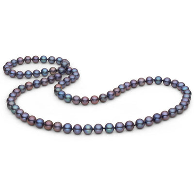 Black Freshwater Endless Pearl Necklace, 26-Inches