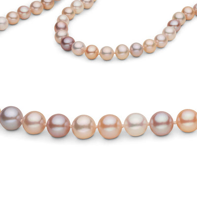 Multi-Color Pink, White and Lavender Freshwater Endless Pearl Necklace, 26-Inches Close Up View