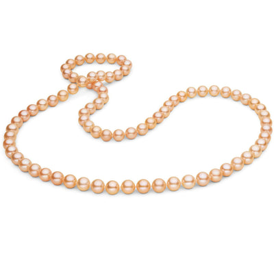 Pink/Peach Freshwater Endless Pearl Necklace, 26 Inch Endless Pearl Necklace, 7.5-8.0mm