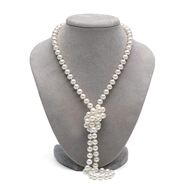 White Freshwater Opera Length Pearl Necklace, 7.5-8.0mm on Necklace Bust