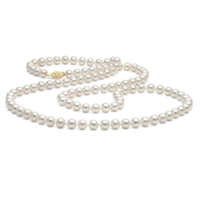 White Freshwater Opera Length Pearl Necklace, 7.5-8.0mm, 14K Yellow Gold