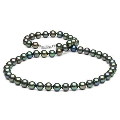 Black Freshwater Pearl Necklace, 7.5-8.0mm, 14K White Gold