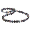 Black Freshwater Pearl Necklace, 8.5-9.0mm, 14K White Gold
