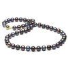 Black Freshwater Pearl Necklace, 8.5-9.0mm, 14K Yellow Gold