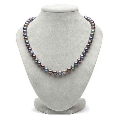 Black Freshwater Pearl Necklace, 8.5-9.0mm on Necklace Bust