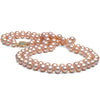 Pink Freshwater Double-Strand Pearl Necklace, 7.5-8.0mm